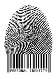 Barcode fingerprint,. Personal identity, fingerprint with barcode Royalty Free Stock Photo