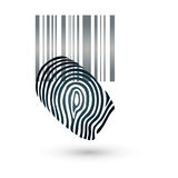 Barcode and fingerprint, security and code logo. Barcode and fingerprint, colored, security and code logo Royalty Free Stock Image