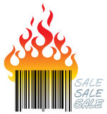 Barcode in fire Stock Photo