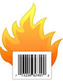 Barcode on fire illustration design. Over a white background Royalty Free Stock Photography
