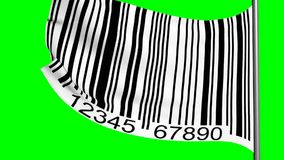 Barcode on a flag on green screen stock footage