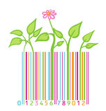 Barcode with flower and leaves. Flower and leaves stylized as barcode Royalty Free Stock Photo