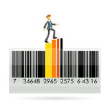 Barcode with graph and businessman Stock Image