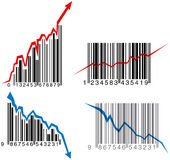 Barcode graphs. Business growth, success and failure depression graph made from barcode (vector Royalty Free Stock Photos