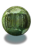 Barcode on a Green Globe Royalty Free Stock Photo