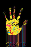 Barcode hand. Multicolored hand print and bar-code against black background Stock Images