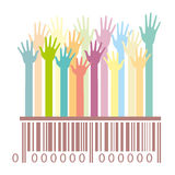 Barcode with hands Royalty Free Stock Photo