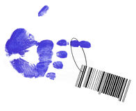 Barcode hanging from hand. Barcode hanging from string on finger painted hand Royalty Free Stock Photography