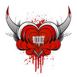Barcode heart concept with blood Stock Photo