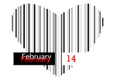 Barcode heart - February 14 Royalty Free Stock Photography