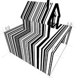Barcode house diagram. Barcode diagram in form of a detached house Stock Images