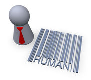 Barcode human. Play figure with red tie and 3d barcode human Royalty Free Stock Image