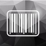 Barcode icon on polygonal background. White barcode icon on black polygonal background Stock Photography