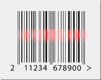 Barcode icon with red laser beam Royalty Free Stock Images