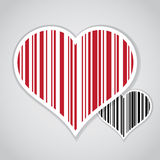 Barcode image with hearts Stock Photos