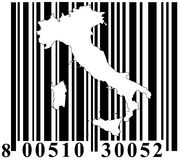 Barcode with Italy outline stock photography