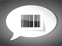Barcode label inside a speech bubble Stock Photography
