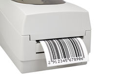 Barcode label printer. Isolated on white Royalty Free Stock Images