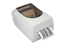 Barcode label printer. Isolated on white Royalty Free Stock Image