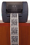 Barcode label printer. Close up barcode label printer Stock Photo