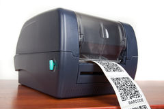 Barcode label printer. Close up barcode label printer Stock Image