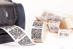 Barcode label printer. Close up barcode label printe Royalty Free Stock Photos