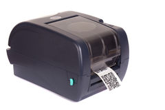 Barcode label printer. Close up barcode label printe Royalty Free Stock Images