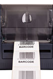 Barcode label printer. Close up barcode label printe Stock Photo