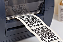 Barcode label printer. Barcode for use - no copyright issues as constructed Royalty Free Stock Image