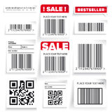 Barcode label and sale vector set Royalty Free Stock Image