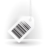 Barcode label with thread. Tilted white barcode label illustration with thread Royalty Free Stock Images