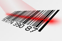 Barcode with laser. Digital creation of a barcode being scanned with laser Stock Photos
