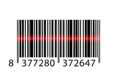 Barcode with laser beam. Vector illustration of barcode with laser beam Royalty Free Stock Images