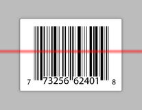 Barcode with a laser scanning it. Royalty Free Stock Photo