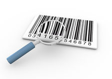 Barcode and magnifier. 3d render of magnifying glass searching bar codes Stock Photos