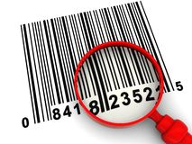 Barcode and magnify glass. 3d illustration of barcode scanning, with magnify glass Royalty Free Stock Image