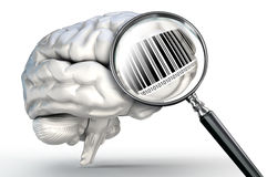 Barcode on magnifying glass and human brain Stock Image