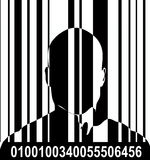 Barcode And Man 5. An image of a barcode and a man, a good image for retail and identitie concepts Royalty Free Stock Photos