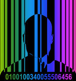 Barcode And Man 6. An conceptual image outline of a male with a barcode over him, could represent big brother security state concepts royalty free illustration