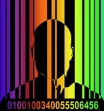 Barcode And Man 7. An conceptual image outline of a male with a barcode over him, could represent big brother security state concepts royalty free illustration