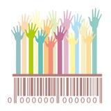 Barcode mit den Händen Lizenzfreies Stockfoto