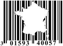 Barcode mit Frankreich-umreiß Stockbilder