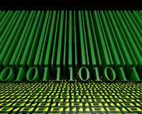 Barcode na tle postacie jeden i zero opuszczać w perspektywie ilustracja 3 d ilustracji