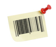 Barcode on note. Barcode on a note with a thumb tack Stock Photography