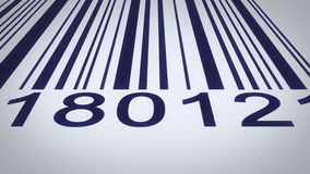Barcode over a white background, scanning by red barcode reader. stock video footage