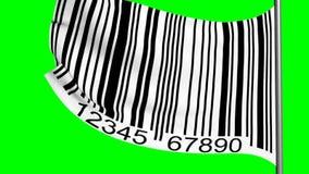 Barcode på en flagga på den gröna skärmen arkivfilmer