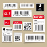 Barcode Packaging Labels or stickers. Isolated stock illustration