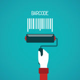 Barcode painting vector concept in flat style Royalty Free Stock Images