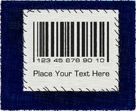 Barcode patch on a blue jeans background. Barcode patch on a blue jeans background Stock Photo