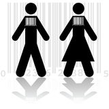Barcode in people vector illustration